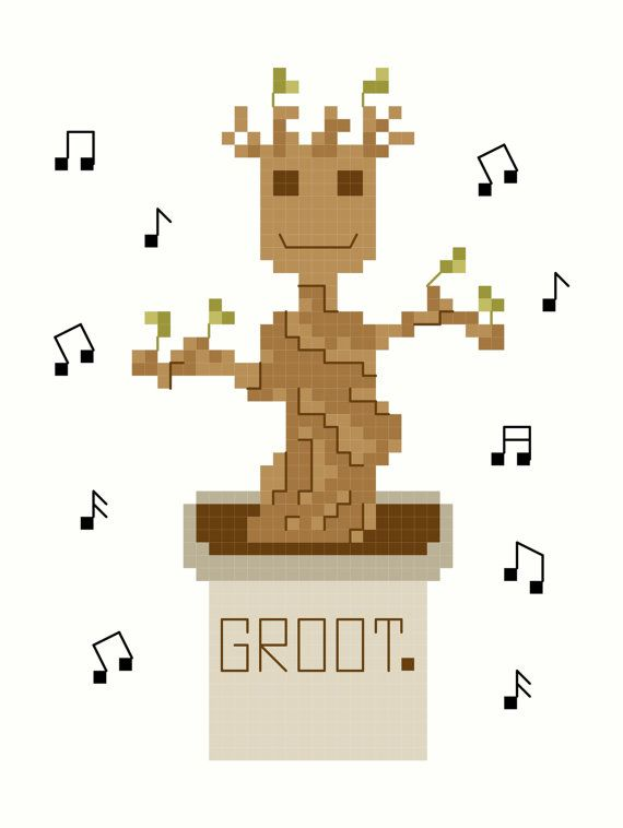 Dancing Baby Groot Guardians of the Galaxy Cross Stitch Pattern (Groot Cross Stitch)