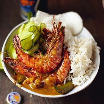 Jamie Oliver's 30-minute meals: Thai red prawn curry, jasmine rice, cucumber salad, papaya platter