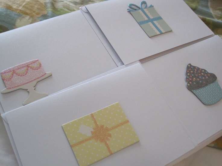 Decorative Happpy Birthday Cards, set of 4. $10.00, via Etsy.