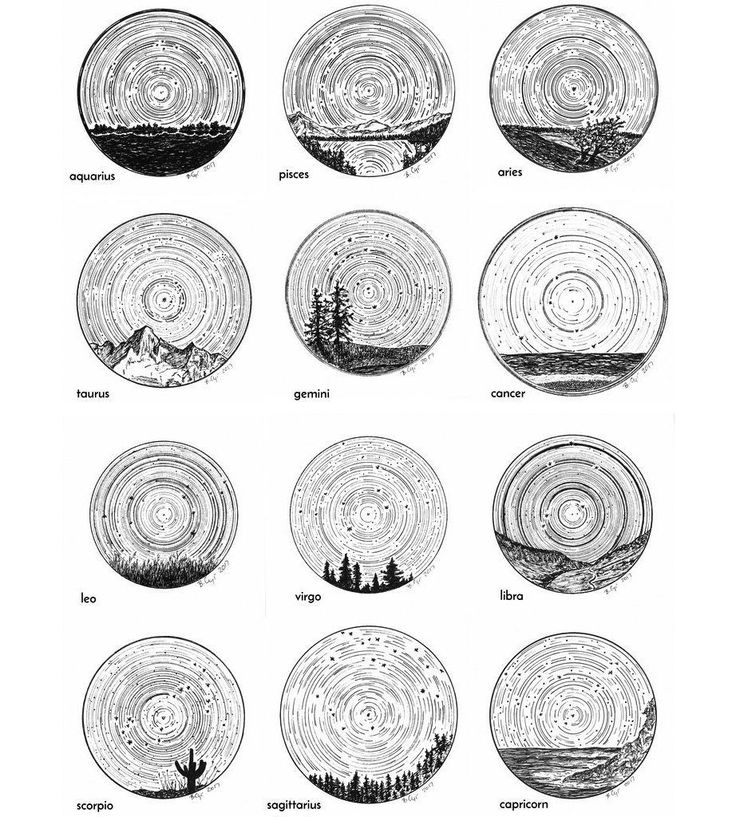 Star trails – Zodiac Constellations – Pen and Ink Drawing Prints   – Star Stuff – Astronomy and Astrology