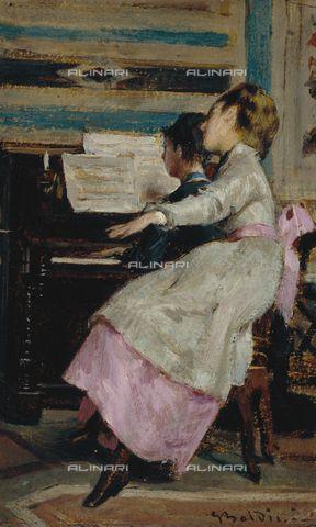 """Giovanni Boldini (Italian,1842-1931) """"Al pianoforte"""" 1869 Bari, Pinacoteca…"""