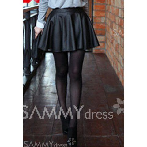 $6.52 Sophisticated Style High-Waist Solid Color PU Leather Skirt For Women