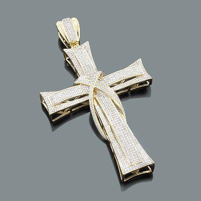 Diamond Cross Pendants: 10K Mens Gold Charm 2.26ct