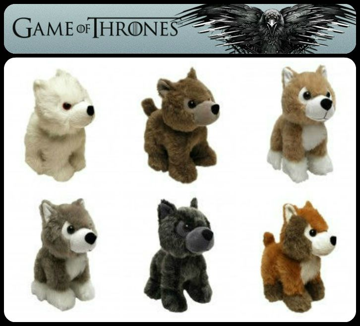Game of Thrones Direwolf Cubs stuffed animals - Ghost, Grey Wind, Lady, Nymeria, Shaggydog & Summer #GoT
