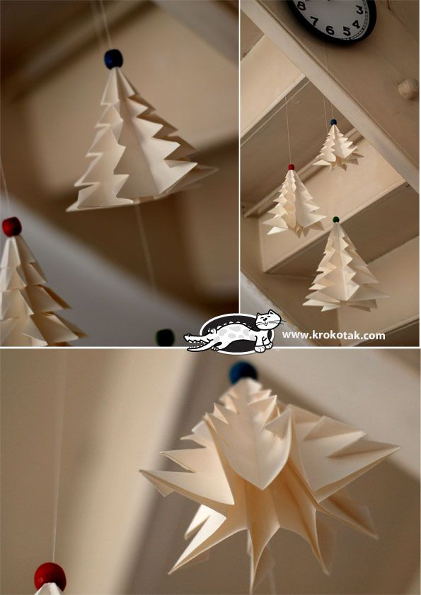 Folded Christmas trees, green or white are pretty. I tried these and decided my first graders would not have the patience. But hanging ones in the room would be lovely as room decorations.