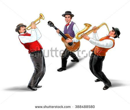 Jazz band, music group, isolated on white background, Trio music players, holiday concert. Saxophonist, Trumpetist, Guitarist. For music Art, web, album design. Oktoberfest USA. Jazz Festival. 2016