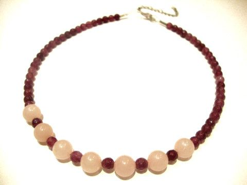 Natural Pink Quartz Purple Faceted Garnet Beads Necklace 45 cm 17.55 inches FREE SHIPPING on Etsy, 49,00€
