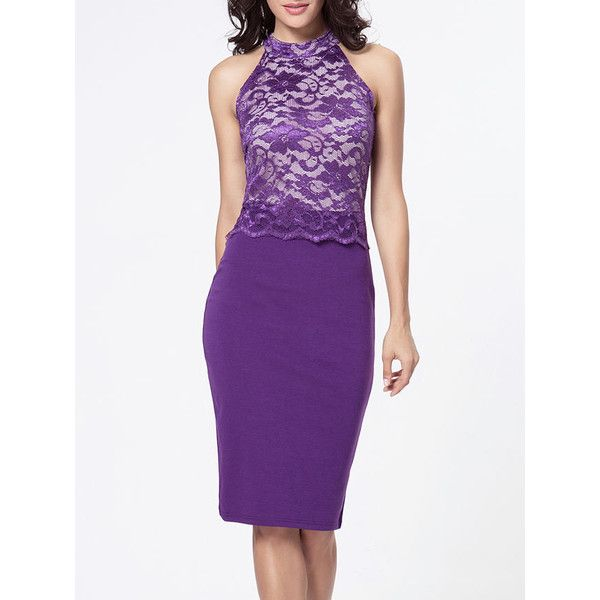 Band Collar Decorative Lace Patchwork Bodycon Dress ($27) ❤ liked on Polyvore featuring dresses, bodycon party dresses, cocktail party dress, going out dresses, purple bodycon dress and lace cocktail dress