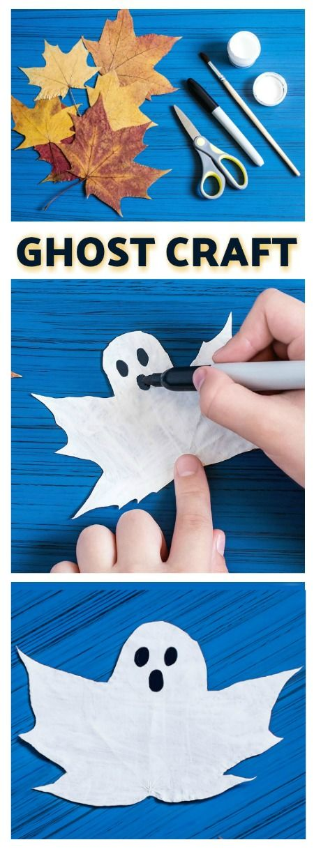 Ghost Craft for Kids- made from leaves! What a fun fall medium to make a craft from! #fallcrafts #halloweencrafts