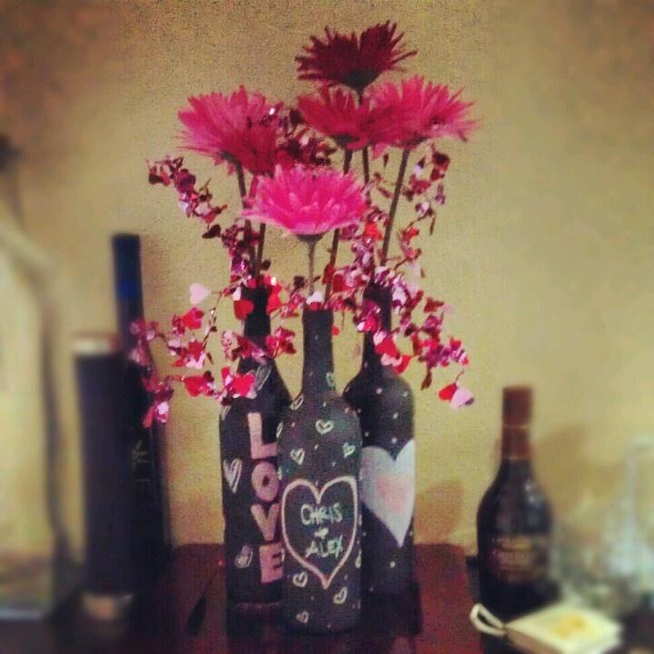 Valentine's Day chalkboard wine bottles