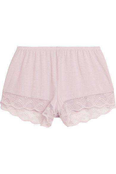 Eberjey - Georgina Lace-trimmed Stretch-modal Jersey Pajama Shorts - Lilac -