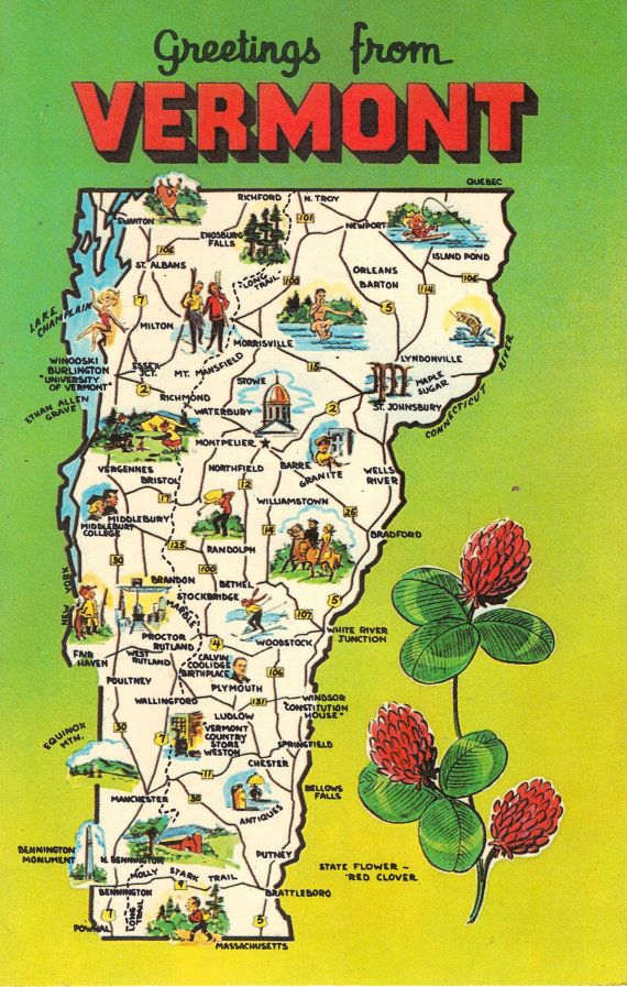 Vermont was home to indigenous people for thousands of years before the french and british battled over the land. Vermont State Map Vintage Postcard Greetings From Etsy Vermont Map Postcard