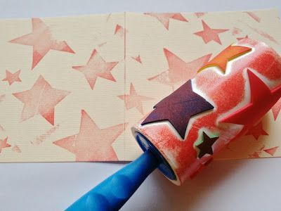 Take a sticky roll lint remover, add some raised craft foam shapes and you have a great new way to stamp out some art! You can peel off the outer layers and make a different one - Endless possibilities!