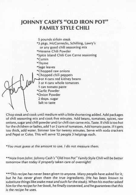 "Johnny Cash's 'Old Iron Pot"" Family Style Chili Recipe"