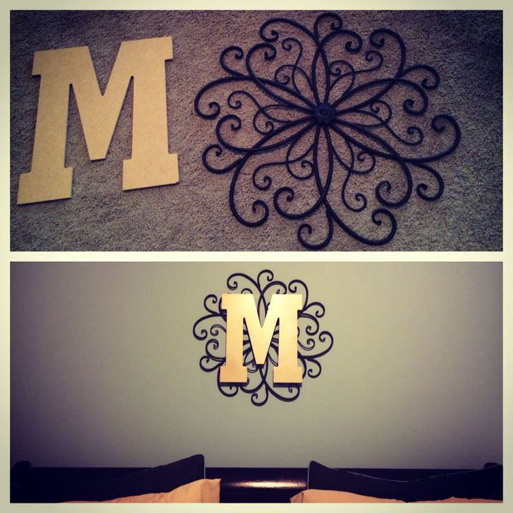 Metal wall hanging from Hobby Lobby + spray paint + initial letter = $15 monogram wall decoration!