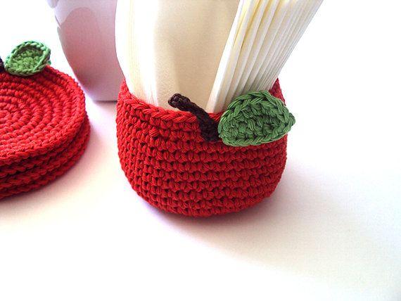 Red apple basket - beautiful !..... crochet kitchen :) lovely pot