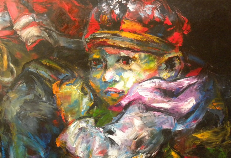 """Mai Huy Dung, """"Mother Protection"""", Oil on Canvas"""