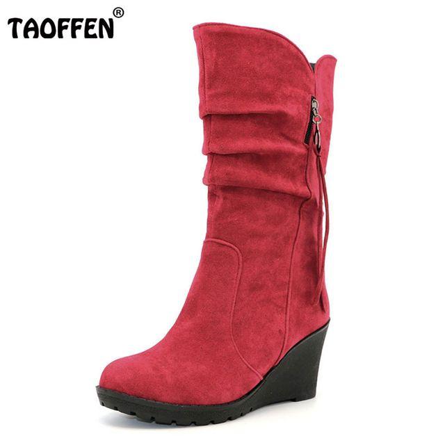 Hot Sale $18.63, Buy TAOFFEN Size 28-50 Women Wedge Half Short Ankle Boots Rainbow Color Winter Snow Boot Fashion Footwear Warm Botas Feminina Shoes