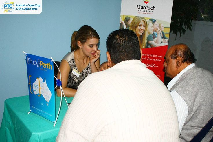 Murdoch University regional manager counselling students on course options at the Australian Open Day for PTC Education Consultants in Mauritius.