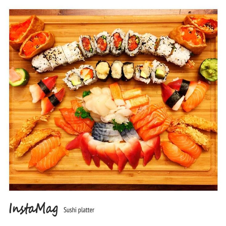 Made sushi for birthday today! Platter number two : inari, maki, sushi and sashimi with an assortment of salmon, eel, scallop, mackerel, surf clam and crabmeat #japfood #sushi #foodporn #foodie #dinner #seafood #homecheflife #rice #sashimi #platter #colourful #qtipkitchen #inari #madefromscratch #fresh #homemade