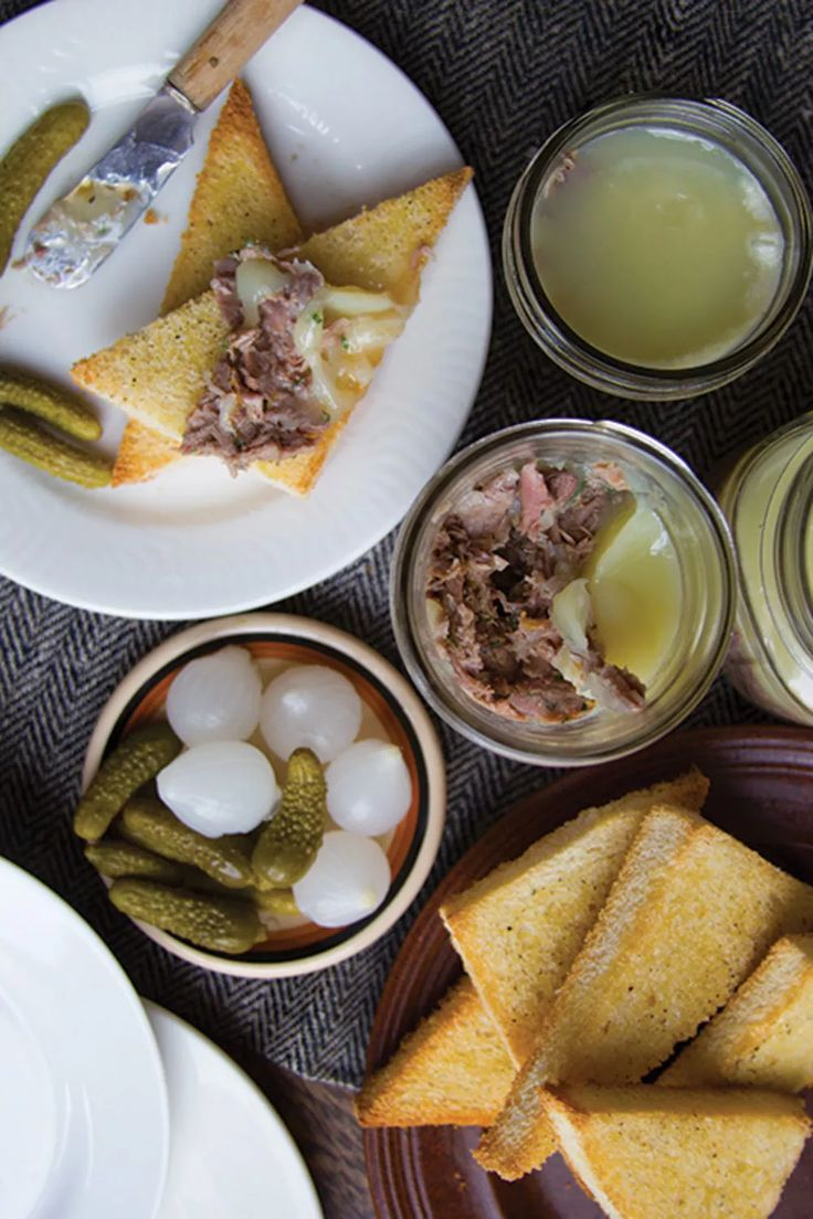 Duck Rillettes - Duck legs are dry-brined and braised in an aromatic stock, flavored with armagnac and spices making a delectable spread for a toasted baguette.