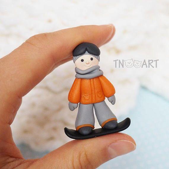 Snowboarder Boy Brooch Handmade Polymer Clay Jewelry Cute
