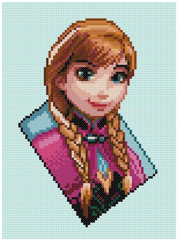 PDF Cross Stitch pattern  0213.Princess Anna Frozen  by PIXcross