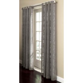 allen roth anaheim sheer curtain 84in l geometric grey grommet sheer curtain