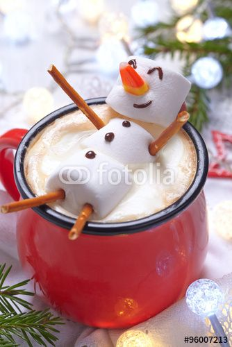 """Hot chocolate with melted snowman"" More"