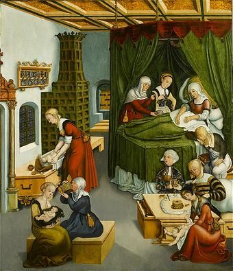 Childbirth in Early Modern England: to me, it looks like she had triplets. The two in the foreground look healthy but the lady standing at the dresser in the red dress looks like she's putting the third child in a coffin.