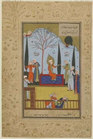 Folio from a Yusuf u Zulaykha by Jami (d. 1492); recto: Zulaykha's Maids Entertain Yusuf in the Garden; verso: text circa 1575 Safavid period  Opaque watercolor, ink, and gold on paper H: 19.2 W: 11.3 cm  Khurasan, Iran  Purchase--Smithsonian Unrestricted Trust Funds, Smithsonian Collections Acquisition Program, and Dr. Arthur M. Sackler S1986.163  Freer-Sackler   The Smithsonian's Museums of Asian Art