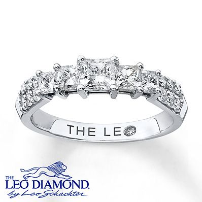 A line of princess-cut Leo Diamonds thrills in this brilliant anniversary ring for her. The ring, styled in 14K white gold, has a total diamond weight of 1 carat. The diamonds have been Independently Certified and the three center diamonds are laser-inscribed with a unique Gemscribe® serial number.
