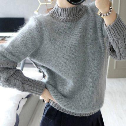 ニット・セーター ニット セーター ハイネック 長袖 厚手 ヘッジセーター ゆったり(2)
