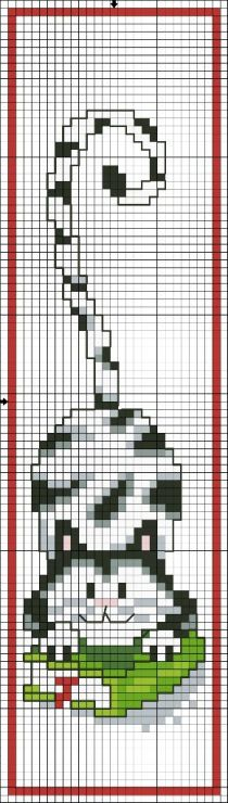 Cross-stitch Kitty & Book Bookmark... no color chart available, just use the pattern chart as your color guide.. or choose your own colors...    chat - cat - point de croix - cross stitch - Blog : http://broderiemimie44.canalblog.com/