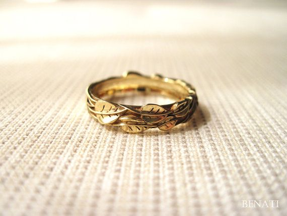 Fancy Gold Leaf Wedding Band Leaves Wedding Ring Handmade Gold by Benati