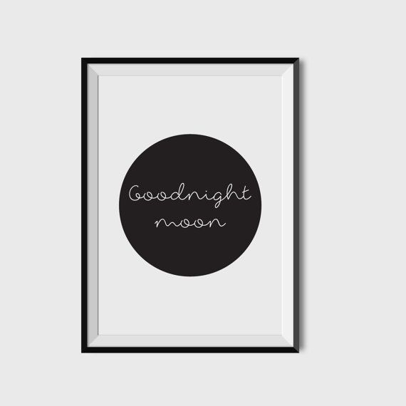 Illustration, goodnight moon nursery art, baby wall art, baby room decor