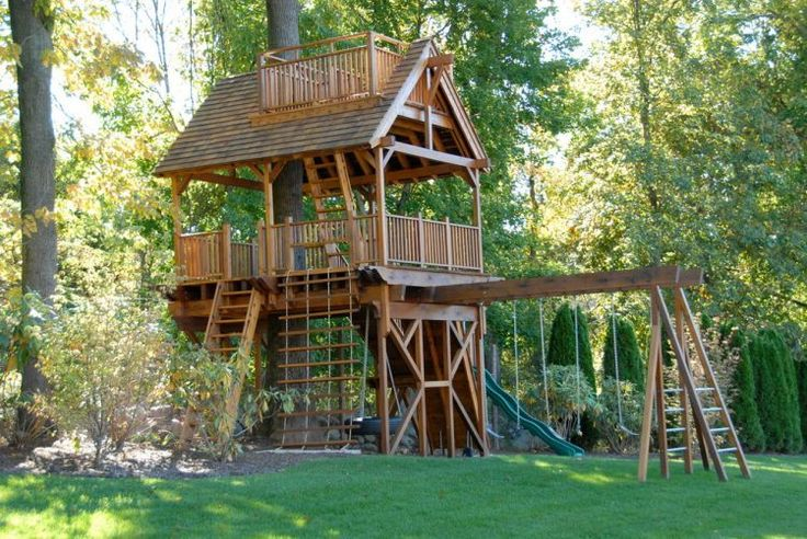 traditional wooden playhouse for backyard