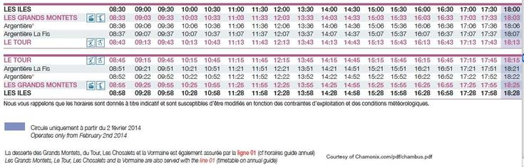 Schedule for the No 13 Chamonix Bus for Le Tour and Les Grands Montets - this is a handy time table for skiers. The bus services only the top end of the valley and the two major ski regions of the Chamonix ski resort at Domaine de Balme and Les Grands Montets. A good skiers bus. And free too!