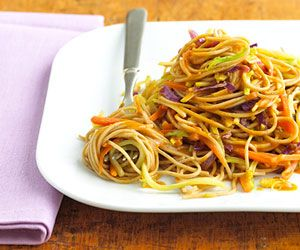 Asian Noodle Slaw Soba noodles, made from buckwheat, have a nutty flavor. Find them in specialty or Asian markets. They add a hearty flavor to this broccoli and carrot side dish. Toss in cooked chicken for a quick dinner idea.