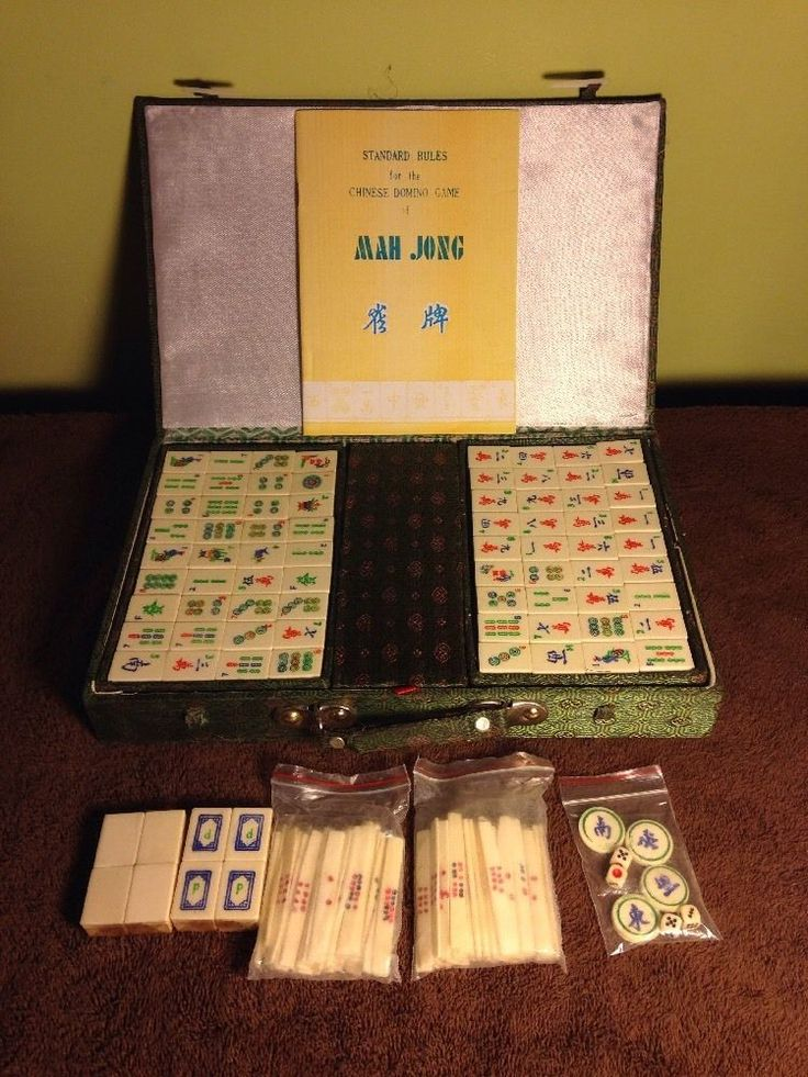 Bone/Bamboo Mah Jong Set-Fabric/Wood Case 151 Tiles Sticks Dice 60's-70's…