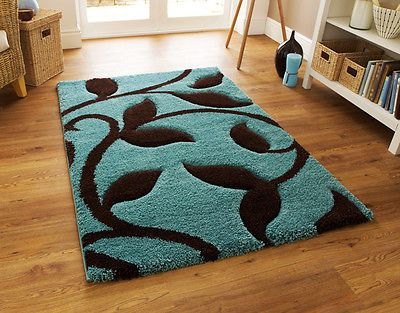 LARGE THICK DUCK EGG BLUE TEAL BLUE CHOCOLATE BROWN SHAGGY RUG 120x170cm Part 95