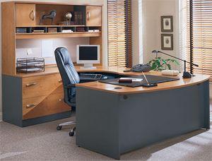 Bush Corsa Series U Shape Corner Wood Office Set With Hutch In Natural  Cherry