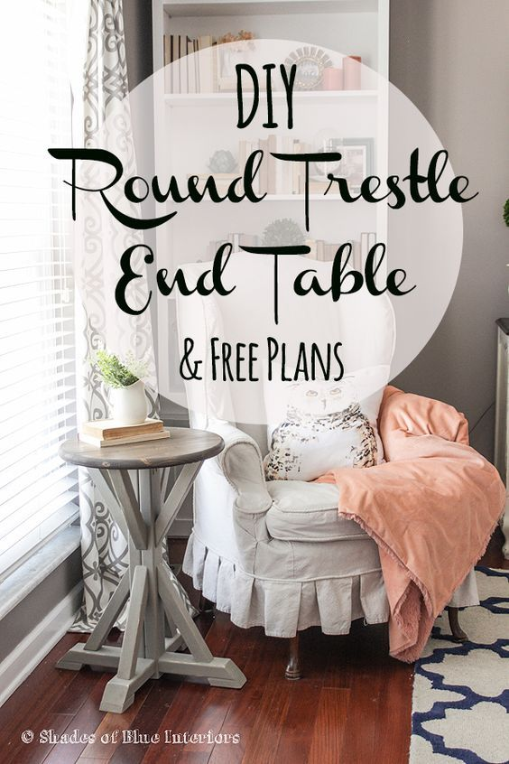FREE plans! Learn how to build a small round trestle end table for only $10.