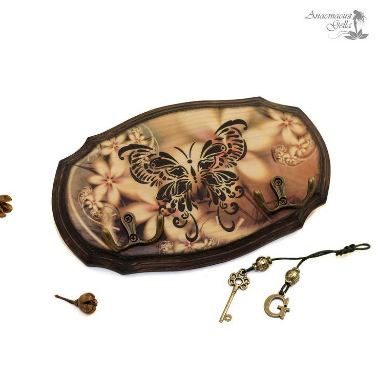 """Купить Ключница вешалка """"Крылья бабочки"""" - оранжевый, желтый, бабочка, ключница, вешалка, ключница вешалка"""