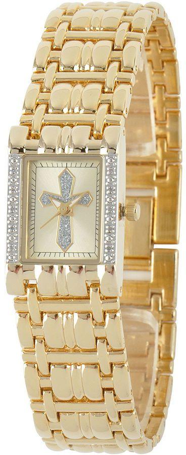 JCPenney FINE JEWELRY Personalized Womens Diamond-Accent Rectangular Gold-Tone Cross Bracelet Watch