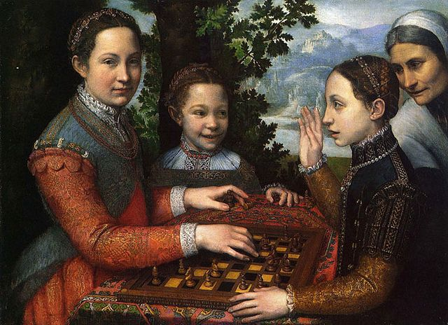 Sisters Playing Chess Sofonisba Anguissola 1555 by fionasfancies, via Flickr coral necklace on youngest sister