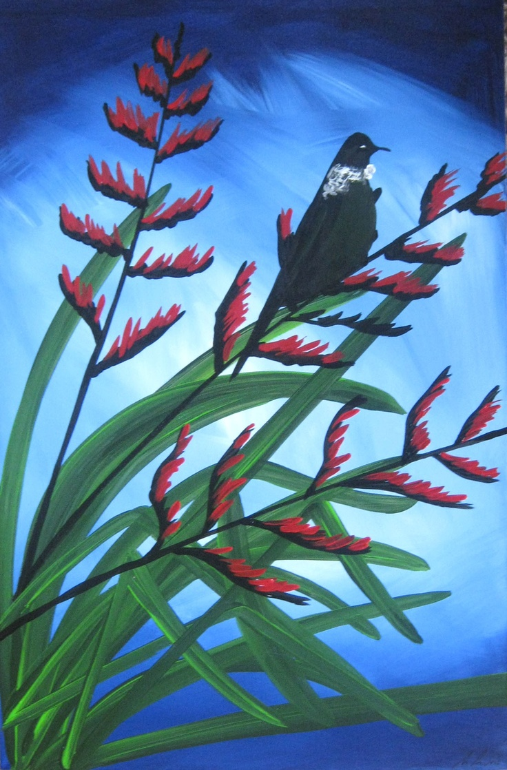 Tui's Nectar: New Zealand Bird Paintings, Modern, Abstract and Contemporary Art, by Artist Megan Morris. www.paintingsforsaledirect.com