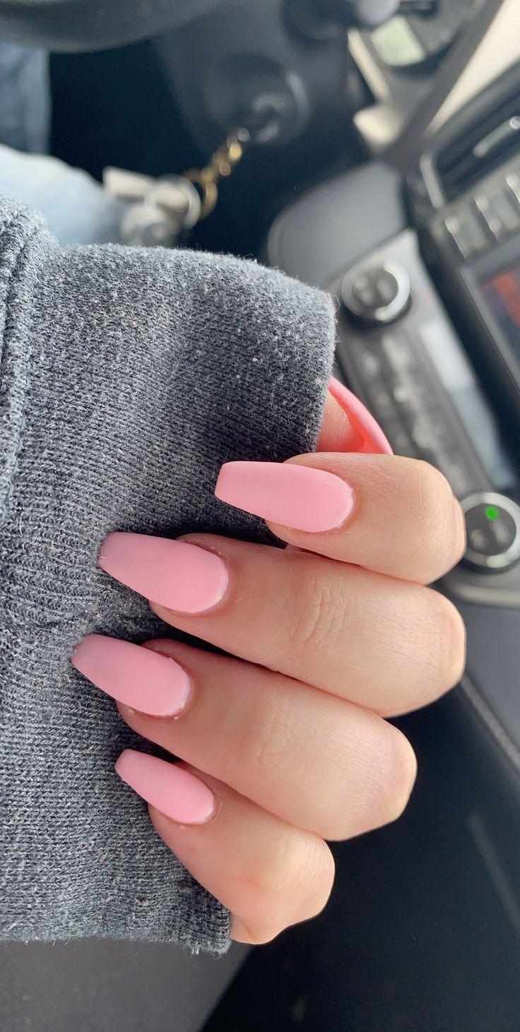Matte Baby Pink Coffin Acrylic Nails Nails Design Pink Acrylic Nails Pink Manicure Coffin Nails Long