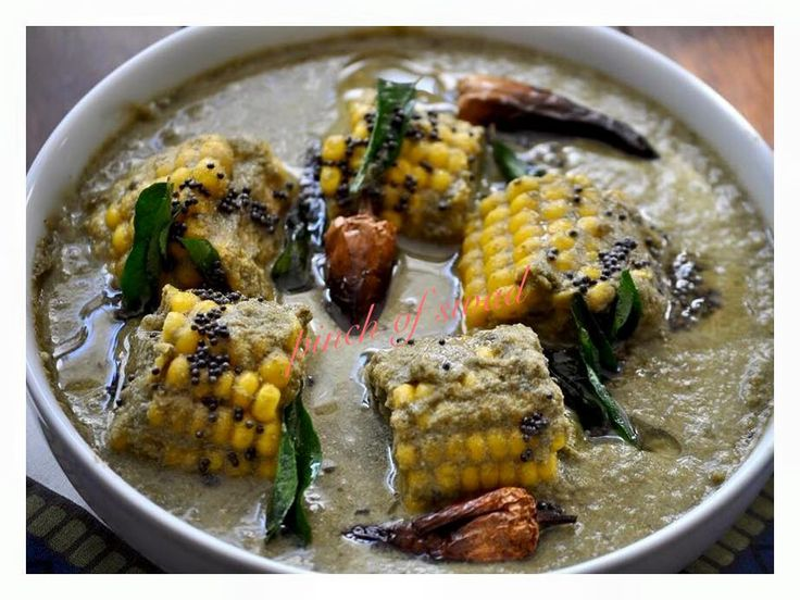Pinch Of Swad: Alwati with Corn Curry (Colocasia Leaves Curry)