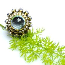 ALLNONLY BLUE STONE AND CUBIC ZIRCONIA STONE RING